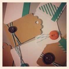 Day 2: Fun with paper, twine, buttons and washi tape. Ooooh, washi tape! #30DoC #Day2 #crafting #Instagram