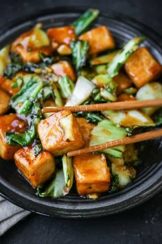 Fried tofu and fresh bok choy simmered in a sweet and spicy sauce. The perfect dinner! Fried tofu and fresh bok choy simmered in a sweet and spicy sauce. The perfect dinner! Fodmap Recipes, Stir Fry Recipes, Cooking Recipes, Bok Choy Stir Fry, Tofu Stir Fry, Easy Bok Choy Recipes, Asian Recipes, Vegan Bok Choy Recipe, Fish Tofu Recipe