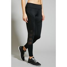 Forever 21 Women's  Active Mesh-Paneled Leggings ($25) ❤ liked on Polyvore featuring activewear, activewear pants, forever 21 and forever 21 activewear