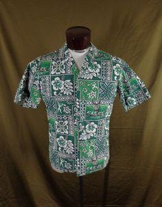 fa7698b4 Vintage Royal Creations Green Reverse Print Tribal-Hibiscus Hawaiian Shirt -M-VLV