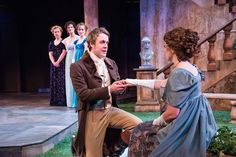 Elizabeth Telford (left) as Maria, Melissa Graves as Princess of France, Siobhan Doherty as Katherine, Matt Mueller as Berowne, and Melinda Pfundstein as Rosaline inthe Utah Shakespeare Festival's 2013 production of Love's Labour's Lost. (Photo by Karl Hugh. Copyright Utah Shakespeare Festival 2013.)