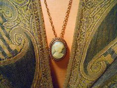 Hand carved Peri cameo greyish blue and by maggiescornerstore