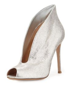 Gianvito Rossi Metallic Leather V-Neck Peep-Toe Bootie