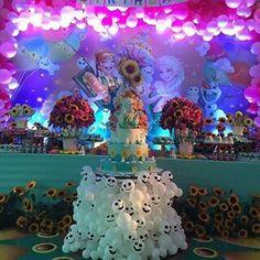 Mesa do bolo Frozen Olafinhos