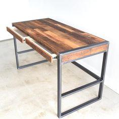 Rustic Office Desk / Industrial Patchwork Desk made from Reclaimed Wood - DIY Desk Ideen Reclaimed Wood Furniture, Steel Furniture, Reclaimed Barn Wood, Rustic Furniture, Home Furniture, Furniture Ideas, Rustic Wood, Furniture Buyers, Repurposed Wood