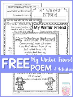 "This is a 11 page interactive activities freebie of my poem called ""My Winter Friend"". It is one of the poems plus activities from my 180 page unit has everything you will need to have an interactive poem of the week for September to January.Check out a blog post  HERE full of photos in action!*****************************************************************************The activities for the poem are:-writing paper to copy the poem at a poetry center-sentence strips of the poem to cut & ..."