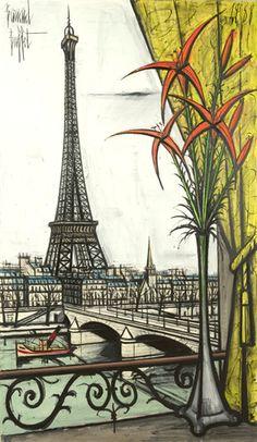 Bernard Buffet/la Tour Eiffel et ses liliums.195x114cm (1988)