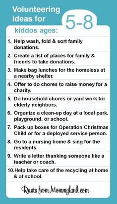 """Kids Can Volunteer (They Just Cant Clean Their Rooms) - Tips for ages 2-4, 5-8, 9-12 and teens. """"Some nuggets to consider:  Giving back doesn't have to take a lot of money or time. Sometimes it only takes ten minutes and a stamp to spread some love. - Little people learn by our example, so make it look like it's fun. - Acts of kindness can be very small, especially for small people..."""" by robbie"""