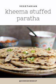 Vegetarian Kheema paratha is a protein packed Indian flatbread stuffed with spicy soy granules/ TVP. Serve with some yogurt for a delicious meal any time of the day. #cookshideout #vegetarian #flatbread Healthy Indian Recipes, North Indian Recipes, High Protein Vegetarian Recipes, Vegan Recipes, Ethnic Recipes, Savory Bread Recipe, Best Bread Recipe, Paratha Recipes, Flatbread Recipes
