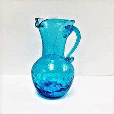 Pottery & Glass North American Smart Vintage Fenton Blue Opalescent Hobnail Glass Mini Cornucopia Vase With Label High Safety