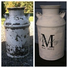 Refurbished milk can with chalk paint