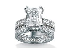 Two-Piece DiamonUltra Cubic Zirconia Sterling Silver Wedding Set, Size 10,5,6,7,8,9