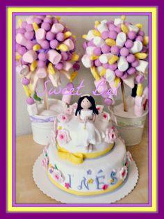 comunion. tarta y accesorios