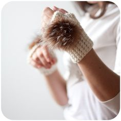 Wild Fauve Paws  Fingerless Gloves with recycled fur by SaraLagace, $68.00