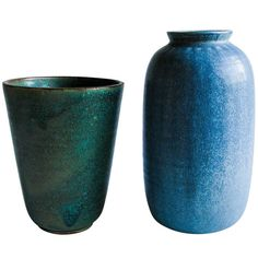 Arne Bang - 1930s Large Stoneware Green/Blue Vases