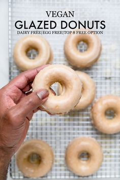 Glazed Vegan Donuts - Make It Dairy Free 10 Ingredients 30 minutes to make Easy doughnuts recipe Dairy free egg free top 8 free option Healthy Vegan Dessert, Vegan Dessert Recipes, Vegan Sweets, Vegan Foods, Vegan Recipes 3 Ingredients, Dairy Free Desserts, Dairy Free Baking, Vegan Baking Recipes, Healthy Food