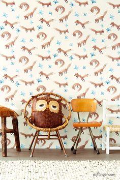 #Behang uit de collectie Tout Petit van #Eijffinger. #kinderbehang #kinderkamer #nursery #wallpaper #vos