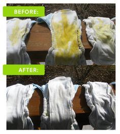 Removing Cloth Diaper Stains IS Easier Than You Think!! Sunshine is Your Diaper's Best Friend!  See the before and after... #grovia