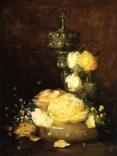 Silver Chalice with Roses, Julian Alden Weir. American (1852-1919)