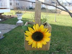 Wedding Flower Girl Basket - Sunflowers on Burlap - Rustic Wedding - Country Farm - Fall via Etsy