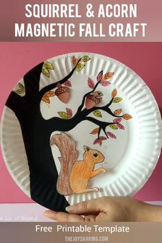 Talk about fall season by making this fun and interactive fall craft at school. Easy STEM project for fall season. #thejoyofsharing #fallcrafts #fall #squirrel #acorn #kidscrafts #papercrafts #paperplatecrafts #freeprintable via @4joyofsharing