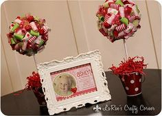 Cute favor/greeting table idea. Love putting the invite in photo frame.