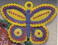 "Free pattern for this beautiful ""Butterfly Potholder""! ✿Teresa Restegui http://www.pinterest.com/teretegui/✿"