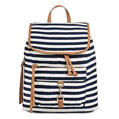 Women's Blue Stripe Print Canvas Backpack Handbag with Tan Trim - Merona™