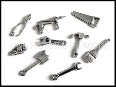 9 breloques outils de bricolage en métal couleur argenté vieilli