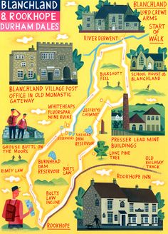 Durham Dales map - 'Walk of the Month'- The Daily Telegraph -  Acrylic on paper- John Montgomery