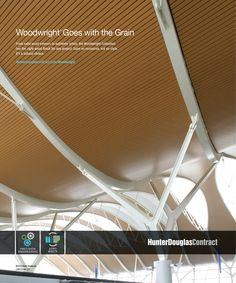 Woodwright™ #ceiling panels include Natura™ real wood and Luxalon® metal ceiling panels in real wood veneer or simulated wood finishes. Both are available in various shapes and sizes and in a wide selection of wood finishes. #architecture