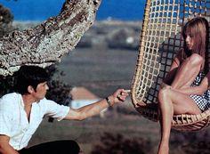 Jane Birkin and Alain Delon in La Piscine by Jacqués Deray (1968).