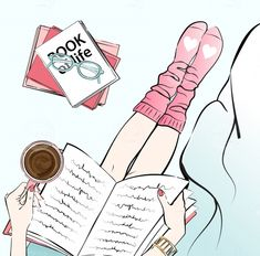 Woman reading a book in cozy bed at home - Illustration price | Minty