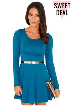 Poulina Value Long Sleeve Skater Dress - Dresses - Skater Dresses - Missguided