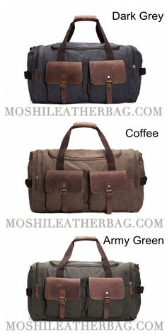03fe529a6 Canvas Leather Overnight Duffle Bag Canvas Travel Tote Duffel Weekend Bag  Luggage AF14