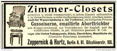 Original-Werbung/ Anzeige 1897 - ZIMMER CLOSETS / ZEPPERNICK & HARTZ - BERLIN - ca. 90 x 40 mm