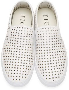 Tiger of Sweden White Perforated Slip-On Sneakers