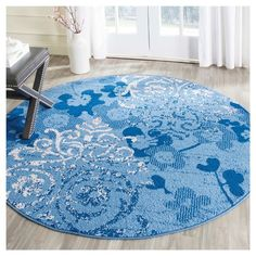 tayse rugs elegance blue 5 ft. 3 in. x 5 ft. 3 in. round indoor
