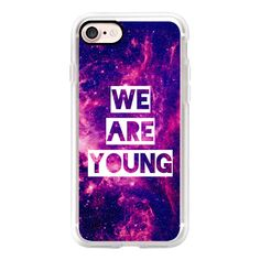 """""""""""We Are Young"""""""" Purple Blue Pink Violet Space Galaxy Nebula Stars... ($40) ❤ liked on Polyvore featuring accessories, tech accessories and iphone grip case"""