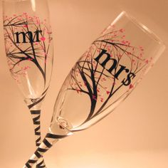 Wedding Toasting Flutes / mr mrs tree w/buds by svcalligraphy, $50.00
