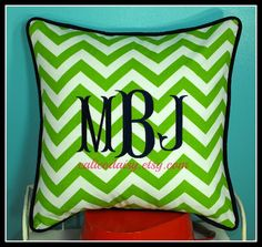 Large Font Monogrammed Chevron Pillow Cover  Choice by calicodaisy, $48.00 - Lime and White chevron.  #monogram #chevron  #bedroom