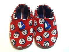 Nautical Baby Boy Shoes with Sail Boats Red by ShoesbySusie, $22.00