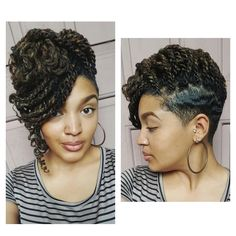 Kinky Twists On A Tapered Cut - Alexandria Nicole Box Braids Hairstyles, Shaved Side Hairstyles, My Hairstyle, Twist Hairstyles, Undercut Hairstyles, Hairstyle Ideas, Updo, Braids With Shaved Sides, Natural Hair Styles