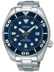 Seiko Sumo Prospex Automatic Dive Watch with Blue Dial and Stainless Steel Bracelet #SBDC033
