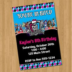 Monster High Invitations 6th Birthday Parties, Birthday Bash, Girl Birthday, Birthday Ideas, Birthday Stuff, Monster High Birthday, Monster High Party, Monster High Dolls, Monster High Invitations