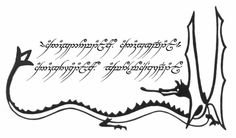 My Lord of the Rings tattoo design. I'm in love with it! It's got the One Ring elvish inscription surrounded by the Smaug illustration from The Hobbit.