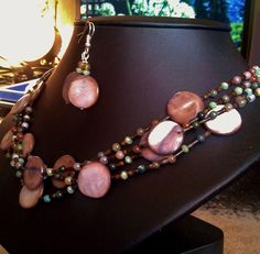 Round Fancy Jasper, Agate Bead Natural Genuine, mixed with Green Sparklers #Handmade #Choker