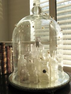 Antique perfume bottles in an antique cloche .. love!!   northeast parkway