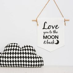 Nursery Wall banner Love you to the moon and back. Handmade from natural linen fabric with embroidered saying. Dream Big. Buy at etsy shop.  Flag Hanging Nursery decor natural linen wall banner. Great for baby shower gifts, baby gifts, new born baby gifts.  Kids room decor, sweet nursery decor, baby room decor, dream big, wall hanging wall banner wall flag.