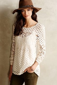 Gorgeous lace tee #anthrofave http://rstyle.me/n/twqhhnyg6